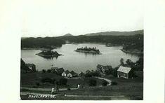 Hordaland fylke Os kommune  Haugland. Oversikt med bl.a. naustbebyggelse, uvanlig sted (priv.lagt). Stemplet 1932