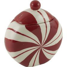 Faux Peppermint Candy Ceramic Canister Jar w/ Lid Red & White Christmas Decor