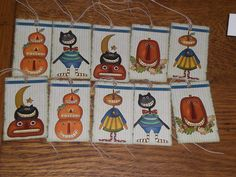 10 Primitive Whimsical Halloween Fall Seasonal Hang Tags Gift Ties Goodie Bags #Handmade