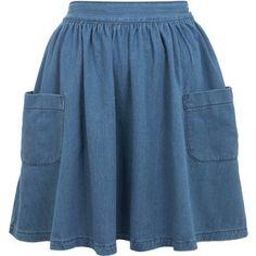 Miss Selfridge Mid Wash Skater Skirt