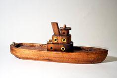 Vintage Hand Made Wooden Tugboat Boat Ship Barge Steamboat Trinket