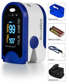 AccuMed CMS50D Pulse Oximeter Finger Pulse Blood Oxygen SpO2 Monitor w Carrying case Landyard Silicon Case  Battery Blue -- Want additional info? Click on the image.