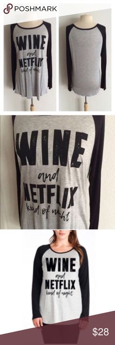 """(Plus) Wine/ Netflix Wine/ Netflix. These are super soft and very TTS with a very slightly oversized look. 95% rayon/ 5% spandex. Bust measurement is laying flat- these easily stretch beyond measurement without feeling tight.  0x: L 30"""" B 42""""  1x: L 30"""" B 44"""" 2x: L 31"""" B 46"""" ⭐️This item is brand new without tags 💲Price is firm unless bundled ✅Bundle offers Availability: 0x•1x•2x • 1•1•2 Tops Tees - Long Sleeve"""