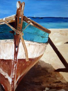 original painting canvas seascape boat rustic by AgatasArtCorner, Watercolor Paintings, Original Paintings, Oil Paintings, Boat Art, Boat Painting, Spray Painting, Pictures To Paint, Acrylic Art, Beautiful Paintings