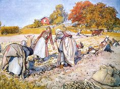 Farm Paintings - Digging Potatoes by Carl Larsson Carl Larsson, Farm Paintings, Poster Online, Meet The Artist, Arts And Crafts Movement, Large Painting, Museum Of Fine Arts, Book Illustration, Vintage Images