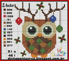 Cross stitch Christmas owl                                                                                                                                                                                 More