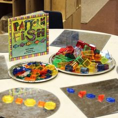 Incorporating mirrors with open ended materials makes for engaging invitations!⠀ ⠀ Pattern Fish is also a fabulous book! ❤️❤️⠀ What are your favorite books to encourage patterning? Preschool Centers, Kindergarten Activities, Classroom Activities, Preschool Activities, Reggio Classroom, Classroom Ideas, Stem Preschool, Classroom Organization, Kindergarden Art