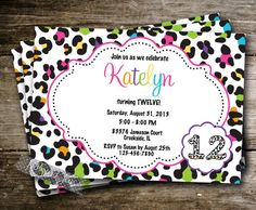 Cheetah Polka Dot Girly Girl Birthday Party Invite Invitation Tween Digital animal print hot pink aqua zebra