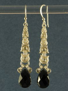 black crystal graduated byzantine earrings