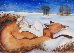 The Winter Queen and her russet red lover, 2 Watercolour, x Swapped for Beautiful glass by Tamsin Abbott The second in a series. Each painting comes with a version of A Short Winter Love Story Art And Illustration, Fantasy Kunst, Fantasy Art, Photo D Art, Winter Love, Fairytale Art, Fox Art, Animal Totems, Human Art