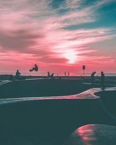 Skateboarding in Venice Beach, California
