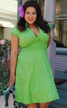 Plus size lime green polka dot dress retro pin up girl style #UNIQUE_WOMENS_FASHION