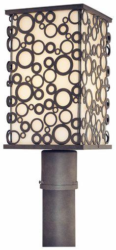 minka lighting modern post light with white glass in black finish