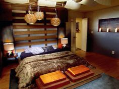 Warmth and Luxurious Bedroom interior Design with Japanese Decoration