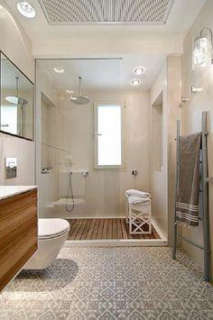 Bathroom remodel love the teak flooring in shower, love the flooring Bathroom Spa, Bathroom Renos, Bathroom Interior, Small Bathroom, Master Bathroom, Bathroom Basin, Bathroom Ideas, Bathroom Layout, Bathroom Storage