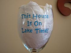 Handpainted Lake Time Wine Glass by Kathy1910 on Etsy, $10.00