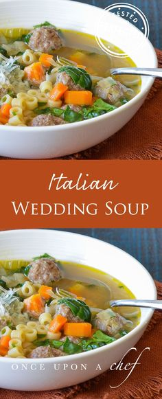 Italian Wedding Soup - This Delicious Soup Is Full Of Mini Meatballs Kids Love Them The Name Wedding Soup Comes From The Italian Language Phrase Minestra Maritataor Married Soupwhich Is A Reference To The Way The Flavors Combine, Like A Happy Marri Slow Cooking, Cooking Recipes, Healthy Recipes, Healthy Breakfasts, Healthy Soup, Italian Wedding Soup Recipe, Italian Soup, Crostini, Albondigas