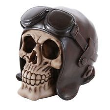 3143e6c60c7 Skeleton Head Human Skull with Pilot Helmet   Goggles Statue Halloween  Figurine Leather Hats