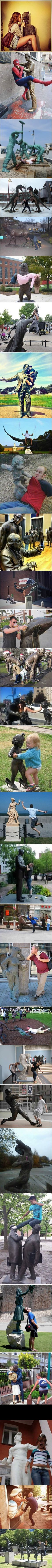 30 people who saw a statue, an opportunity and took it