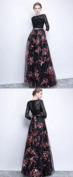 Black lace long prom dress, long sleeve prom dress