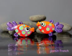 °° WHIMSY FiShEs °° lampwork beads tiny pair by jasmin french