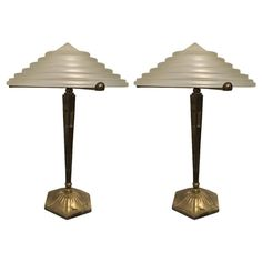 Pair of Signed G. Leleu French Art Deco Table Lamps