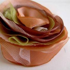 Romantic handmade fabric flower brooch pin in pale peach.