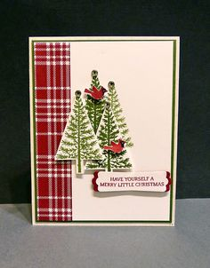 Stampin Along With Heidi: Trees, cardinals and sparkles!