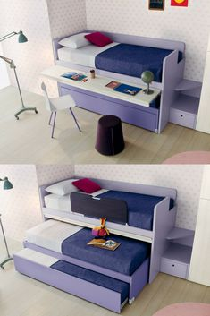 Space saving solutions for kids' beds. Cascade sleeps 2 or 3 with a retractable study desk and ladder in the space of one desk.
