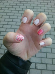 Nude pink dots nails