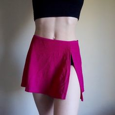 LAST CHANCE Pink ribbed vintage swim skirt Hot pink vintage swimsuit cover up skirt with high slit. Stretchy and comfortable. Ideal for 26-28 waist. Material reminds me of American Apparel ribbed bathing suit material but this is vintage from the swimwear brand Catalina. Great condition. Vintage Skirts