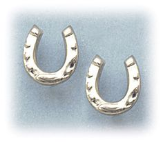 Pierced earrings posted silver stainless steel tiny horseshoe