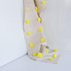 Bright Yellow Pom Pom Throw Blanket