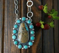 Your Soul's Flower -Turquoise Sterling Silver Cluster Necklace