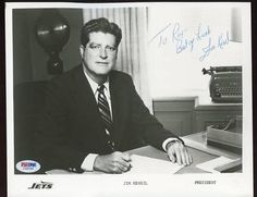 "JIM KENSIL SIGNED 8x10 PHOTO PSA COA NY JETS PRESIDENT . $30.00. NEW YORK JETS PRESIDENT, JIM KENSIL, HAND SIGNED 8X10"" (APPX) COLOR PHOTOGRAPH.   . AUTOGRAPH AUTHENTICATED BY PSA/DNA WITH NUMBERED PSA/DNA AUTHENTICATION STICKER ON ITEM AND MATCHING NUMBERED PSA/DNA CERTIFICATE OF AUTHENTICITY (COA) INCLUDED. PSA/DNA COA:  #I29733 ITEM PICTURED IS ACTUAL ITEM RECEIVED.  ITEM IS SOLD AS IS, NO REFUNDS AND NO EXCHANGES."