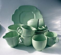 "Cups, saucers, tea plates, cake plate milk jug and sugar bowl. sc- I didn't realize the ""Dawn"" series came in green. I would love four place-settings, please! Vintage Tableware, Vintage Dishes, Vintage China, Johnson Bros, Johnson Brothers, 50s Kitchen, Vintage Kitchen, Lapsang Souchong, Best Dishes"