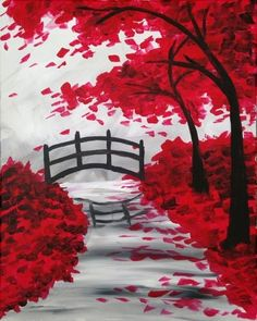 Paint Nite. Drink. Paint. Party! We host painting events at local bars. Come join us for a Paint Nite Party!. Canvas Painting Tutorials, Easy Canvas Painting, Easy Landscape Paintings, Drawing Scenery, Small Canvas Art, Wow Art, Pastel Art, Tree Art, Local Bars