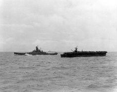 USS Alabama and a Escort Carrier! (B&W)