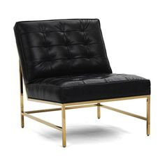 MAJOR CHAIR POLISHED BRASS LEATHER