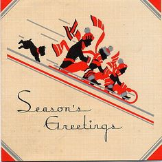 Vintage Art Deco Christmas Greeting Card Silhouette Family Scottie Scotty Dog | eBay