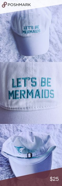 "|| 2x Host Pick ☀️ || ""Mermaids"" Embroidered Hat ☀️ HOST PARTY PICK for ""Total Trendsetter Party ""on June 8, 2017 AND ""Sunny Day Style Party"" on June 10, 2017.☀️  A white ""Let's Be Mermaid"" embroidered baseball hat / cap. Can this be any cuter?   With all the latest mermaid trends, this is the perfect cap to be wearing! And let's not forget the adorable little tail fin on the back part of the cap. Too cute!  ** PRICE IS FIRM FOR THIS BECAUSE IT WAS MARKED DOWN TWICE BEFORE. ** David & Young…"