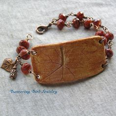 Boho Bracelet Cuff Ceramic Leaf  Glass Beads by BanteringBird, $30.00