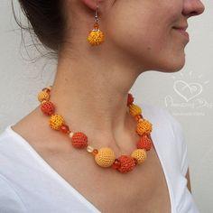 Crocheted Statement NECKLACE Yellow Orange Honey by AmazingDay