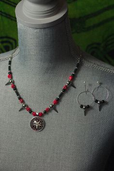 "Black, Red and Silver ""Hail Satan"" Necklace and Earrings Set  #TheContraryDame"
