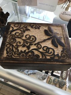 Carved Wood Box - Dragonfly