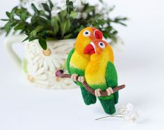 A Splash of color with yellow green and red by Sabrina on Etsy