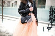 Pink tulle skirt and leather jacket inspiration