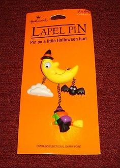 VINTAGE HALLMARK HALLOWEEN NIGHT MOON FLYING WITCH BAT MOTION PIN - NOC MINT