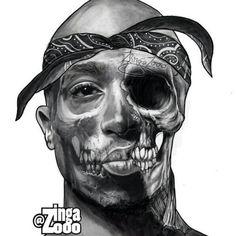 Tupac half dead tattoo drawing