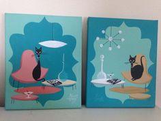 2 El Gato Gomez Paintings Retro 1950's Mid Century Modern Eames Knoll Black Cats #Modernism